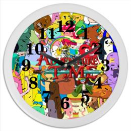 "Часы круглые из пластика ""Adventure Time"" - мультфильм, коллаж, для детей, adventure time"