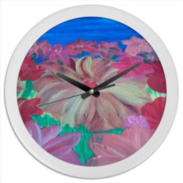 """Часы круглые из пластика """"цветочное настроение"""" - арт, цветы, рисунок, в подарок, розовое, яркие, flowers, яркое, цветные, для интерьера"""