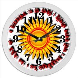 """Часы круглые из пластика """"Твой солнечный миг"""" - йога, индия, индуизм, мантра, санскрит"""