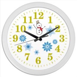 """Часы круглые из пластика """"Часы настенные """"Радость снеговика"""""""" - зима, часы, снежинки, снеговик"""