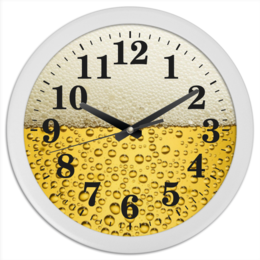 """Часы круглые из пластика """"Пенное время"""" - арт, drink, напитки, bubbles, газировка, soda, пена, foam, refreshing"""