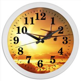 """Часы круглые из пластика """"Авиация"""" - романтика, небо, авиация, самолеты, самолет в небе"""