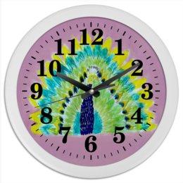"Часы круглые из пластика ""Часы Жар Птица"" - красота, яркая, счастье, сказка, жар-птица"