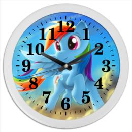 "Часы круглые из пластика ""Радуга Дэш"" - rainbow dash, my little pony, friendship is magic, радуга дэш"