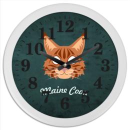 """Часы круглые из пластика """"Maine Coon"""" - арт, в подарок"""