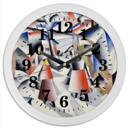 """Часы круглые из пластика """"Утро после вьюги в деревне (Малевич)"""" - картина, живопись, малевич, кубизм, модерн"""