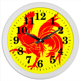 """Часы круглые из пластика """"2017 - год Красного Петуха"""" - новый год, 2017, красный петух, восточный календарь"""