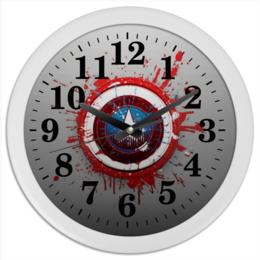 "Часы круглые из пластика ""Captain America"" - арт"