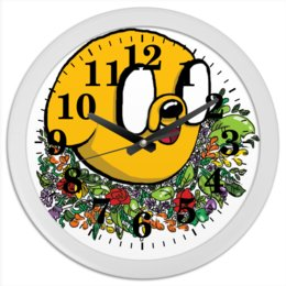 """Часы круглые из пластика """"Джейк он Пес"""" - собака, adventuretime, времяприключений, джейк, финн"""
