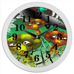 """Часы круглые из пластика """"Инопланитяне"""" - инопланетяне, нло, марсиане, лунатики, летающая тарелка"""