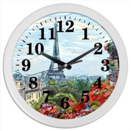 """Часы круглые из пластика """"Эйфелева башня"""" - графика, франция, париж, эйфелева башня"""