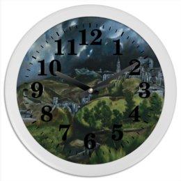 """Часы круглые из пластика """"Вид Толедо (картина Эль Греко)"""" - картина, пейзаж, живопись, возрождение, эль греко"""