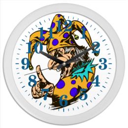 """Часы круглые из пластика """"Джокер предупреждает"""" - joker, палец, джокер, шут, колпак"""