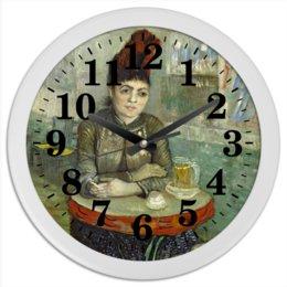 """Часы круглые из пластика """"Агостина Сегатори в кафе «Тамбурин»"""" - картина, портрет, ван гог, живопись, постимпрессионизм"""
