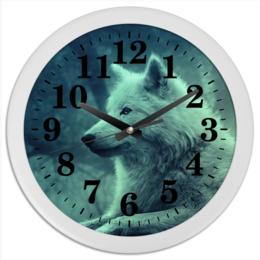 """Часы круглые из пластика """"Настенные часы"""" - волк"""