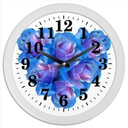 "Часы круглые из пластика ""Яркое сердце"" - сердце, цветы, часы, розы, букет"
