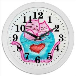 """Часы круглые из пластика """"Котики"""" - любовь, счастье, котики, вместе, любить"""