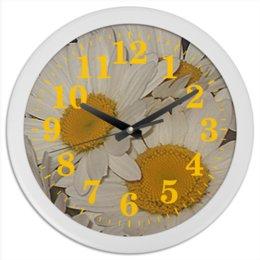 """Часы круглые из пластика """"Улыбчивая ромашка."""" - цветы, ромашка, ромашки, букет, цветник"""