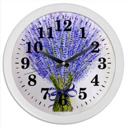 """Часы круглые из пластика """"Лаванда"""" - рисунок, лаванда, цветы"""