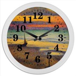 """Часы круглые из пластика """"Пляж в Хейсте (Жорж Леммен)"""" - картина, пейзаж, живопись, жорж леммен, неоимпрессионизм"""