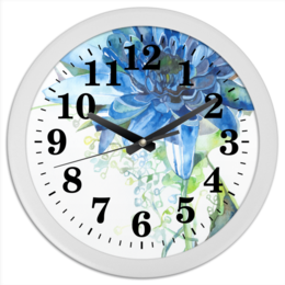 """Часы круглые из пластика """"Хризантема"""" - цветок, синий, акварель"""