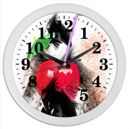 """Часы круглые из пластика """"Яблочный микс"""" - абстракция, яблоко, фрукт, натюрморт, зонтик"""