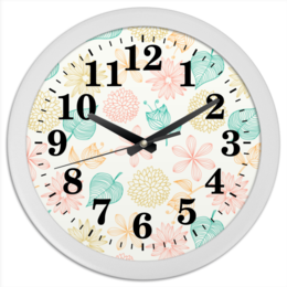 """Часы круглые из пластика """"Цветочные"""" - цветы, листья, растения, флора"""