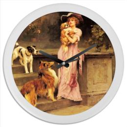 "Часы круглые из пластика ""Собаки"" - девушка, 8 марта, картина, собака, артур вардль"