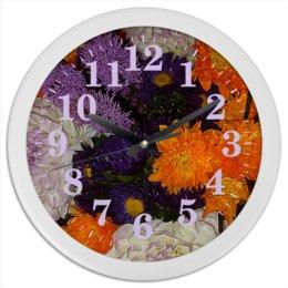 """Часы круглые из пластика """"Цветное время!"""" - цветы, счастье, букет, георгин, астра"""