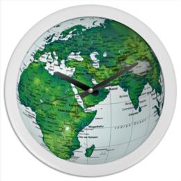 """Часы круглые из пластика """"Люблю Планету!"""" - карты, планета, страны, город, космос, города, страна, earth, земля, глобус"""