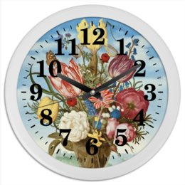 """Часы круглые из пластика """"Букет цветов на полке (Амброзиус Босхарт)"""" - цветы, картина, живопись, натюрморт, босхарт"""