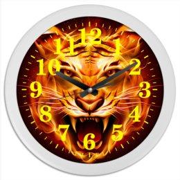 """Часы круглые из пластика """"ТИГРЫ ФЭНТЕЗИ"""" - хищник, стиль, огонь, яркость, тигр"""