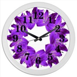 """Часы круглые из пластика """"Благородный сиреневый"""" - цветы, часы, букет, декор, венок"""