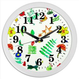 """Часы круглые из пластика """"Часы Финская тема"""" - птички, цветочки, листики, ягодки"""