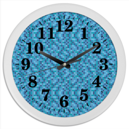 """Часы круглые из пластика """"Мозайка"""" - узор, рисунок, абстракция, стильный, мозайка"""