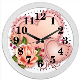 """Часы круглые из пластика """"Сердца"""" - сердце, любовь, роза"""
