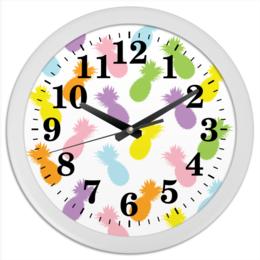 """Часы круглые из пластика """"Ананасы!"""" - паттерн, радуга, фрукты, узор, ананас"""