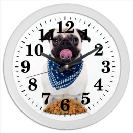 """Часы круглые из пластика """"Pugs """" - pug, мопс, pugs"""
