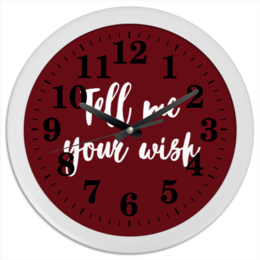 """Часы круглые из пластика """"Tell me your wish"""" - 14 февраля, для девочек, для дома, желания"""