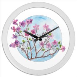 """Часы круглые из пластика """"Цветущая ветка багульника"""" - цветы, весна, тоторо, багульник"""
