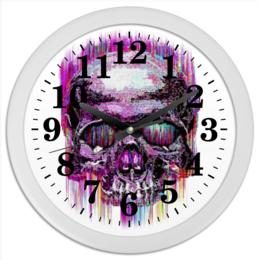 "Часы круглые из пластика ""Skull Art"" - skull, череп, арт, графика, арт дизайн"