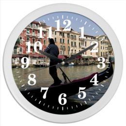 """Часы круглые из пластика """"Венеция"""" - италия, венеция, гондолы"""