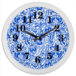 """Часы круглые из пластика """"Гжель"""" - рисунок, роспись, гжель"""
