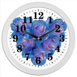 """Часы круглые из пластика """"Голубое сердце"""" - сердце, цветы, часы, розы, букет"""
