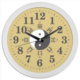 """Часы круглые из пластика """"Часы Космогенез в китайской философии"""" - монада, триграммы, дао, yin-yang, китай"""