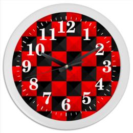 """Часы круглые из пластика """"Красная и Чёрная клетка"""" - дизайн, клетка, красное и чёрное"""