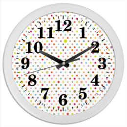 """Часы круглые из пластика """"Горошек"""" - узор, рисунок, орнамент, абстрактный, классический"""