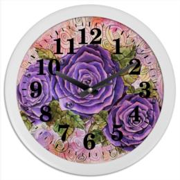 """Часы круглые из пластика """"Сиреневые розы"""" - цветы, рисунок, розы"""