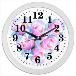 """Часы круглые из пластика """"Нежное сердце"""" - сердце, цветы, часы, розы, букет"""