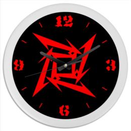 """Часы круглые из пластика """"«Логотип Metallica»"""" - логотип металлика, логотип metallica, metallica, металлика"""